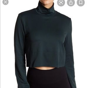 Wolford forest green turtleneck cropped top